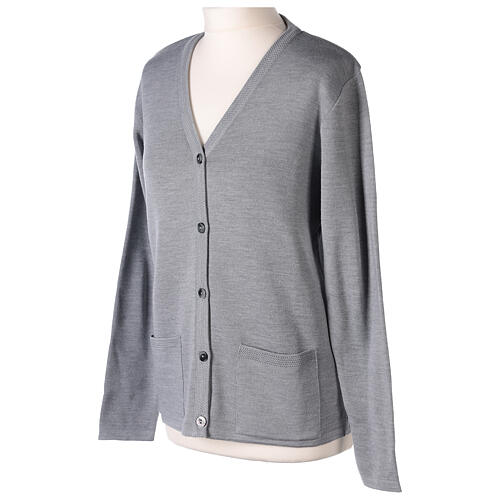 Grey V-neck nun cardigan with pockets 50% acrylic 50% merino wool In Primis 3