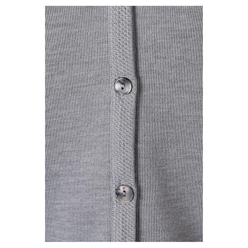 Grey V-neck nun cardigan with pockets 50% acrylic 50% merino wool In Primis 4
