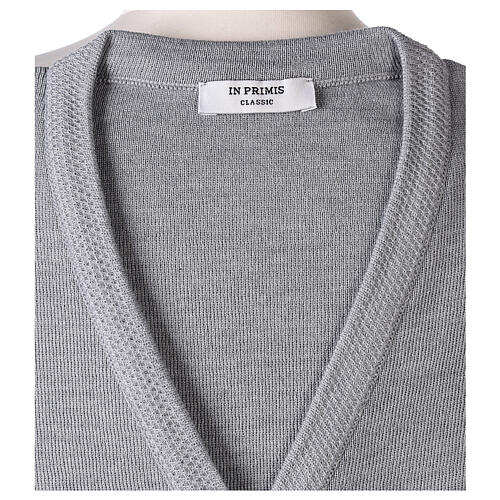 Grey V-neck nun cardigan with pockets 50% acrylic 50% merino wool In Primis 7