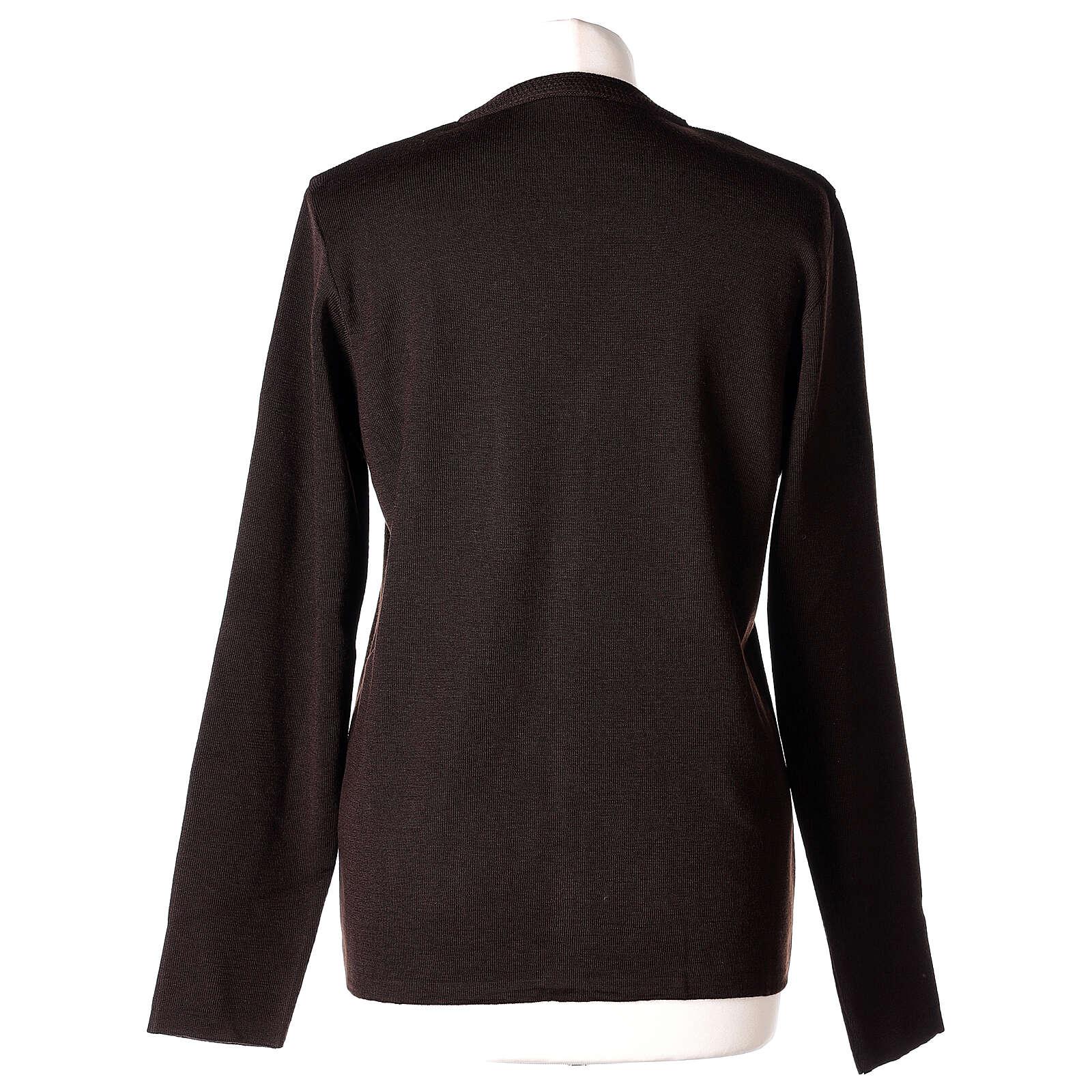 Rebeca monja marrón cuello V bolsillos punto unido 50% acrílico 50% lana merina In Primis 4