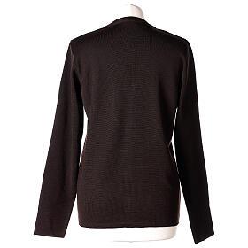 Rebeca monja marrón cuello V bolsillos punto unido 50% acrílico 50% lana merina In Primis s6