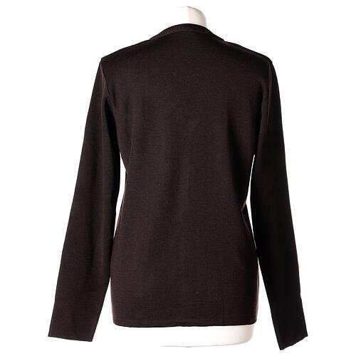 Rebeca monja marrón cuello V bolsillos punto unido 50% acrílico 50% lana merina In Primis 6