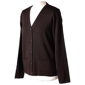 Kardigan sweter siostry zakonnej brązowy dekolt serek kieszonki dzianina gładka 50% akryl 50% wełna merynos In Primis s3