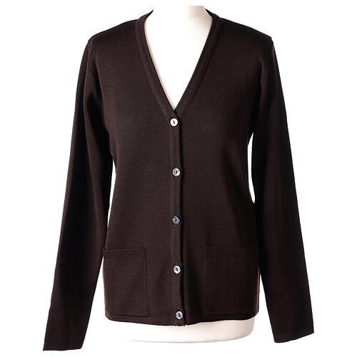 Kardigan sweter siostry zakonnej brązowy dekolt serek kieszonki dzianina gładka 50% akryl 50% wełna merynos In Primis 1