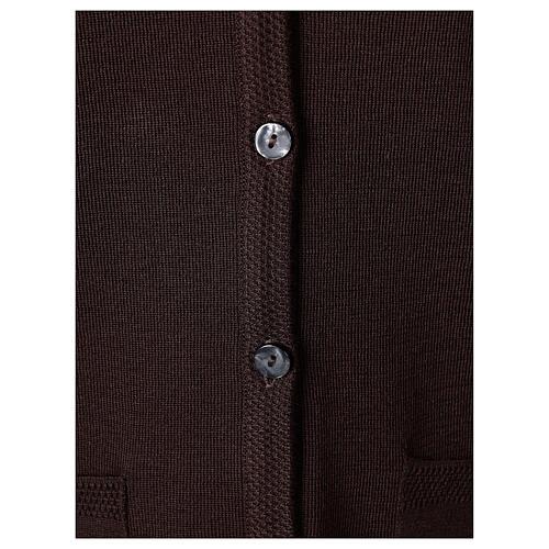 Kardigan sweter siostry zakonnej brązowy dekolt serek kieszonki dzianina gładka 50% akryl 50% wełna merynos In Primis 4