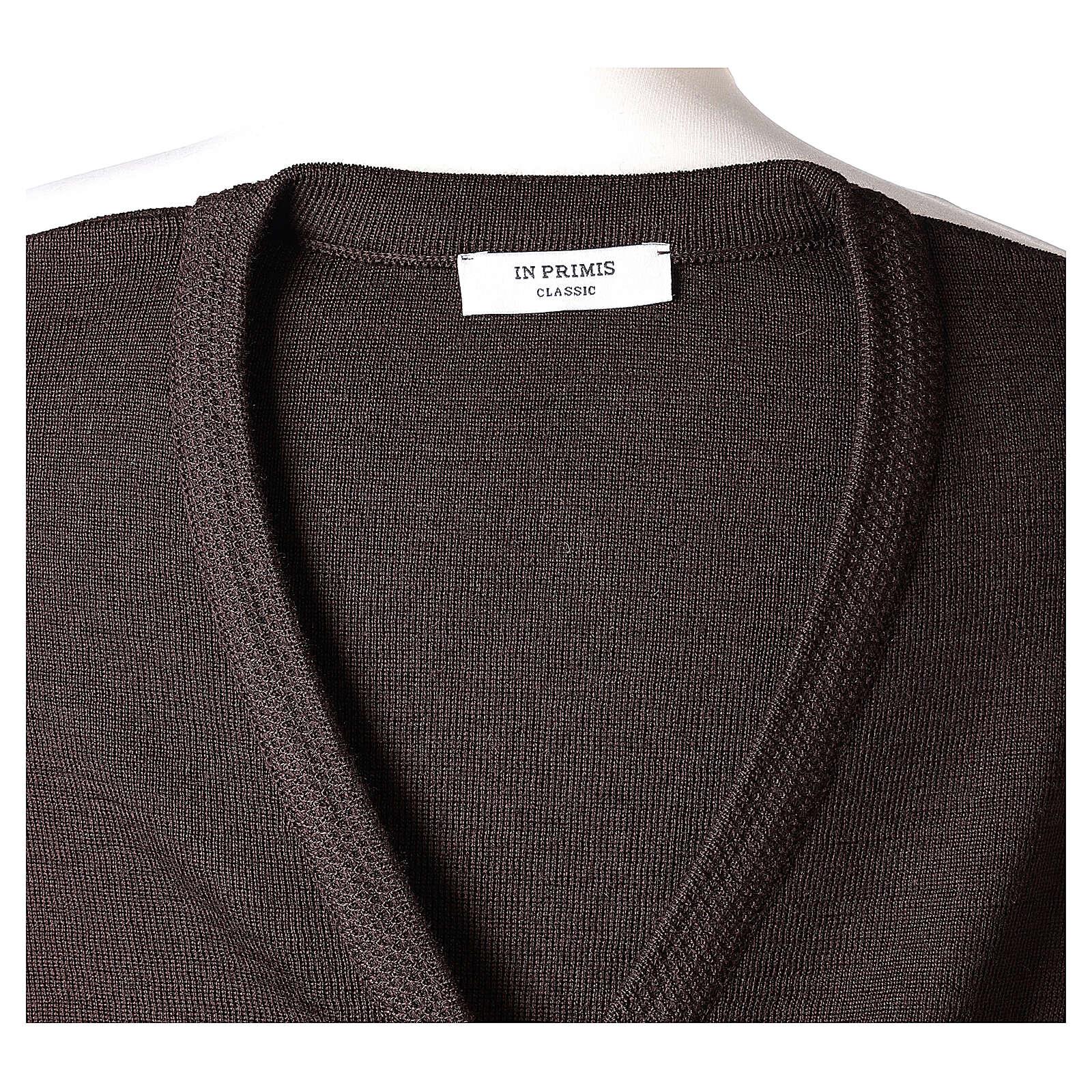 Brown V-neck nun cardigan with pockets 50% acrylic 50% merino wool In Primis 4