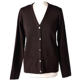 Brown V-neck nun cardigan with pockets 50% acrylic 50% merino wool In Primis s1