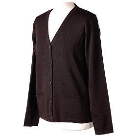 Brown V-neck nun cardigan with pockets 50% acrylic 50% merino wool In Primis s3