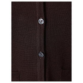 Brown V-neck nun cardigan with pockets 50% acrylic 50% merino wool In Primis s4
