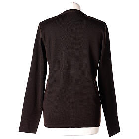Brown V-neck nun cardigan with pockets 50% acrylic 50% merino wool In Primis s6