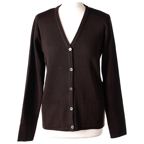 Brown V-neck nun cardigan with pockets 50% acrylic 50% merino wool In Primis 1