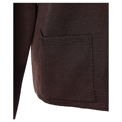 Brown V-neck nun cardigan with pockets 50% acrylic 50% merino wool In Primis 5