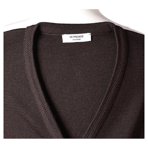 Brown V-neck nun cardigan with pockets 50% acrylic 50% merino wool In Primis 7