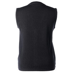 Gilet nero corto collo a V 50% acrilico 50% lana merino suora In Primis s4