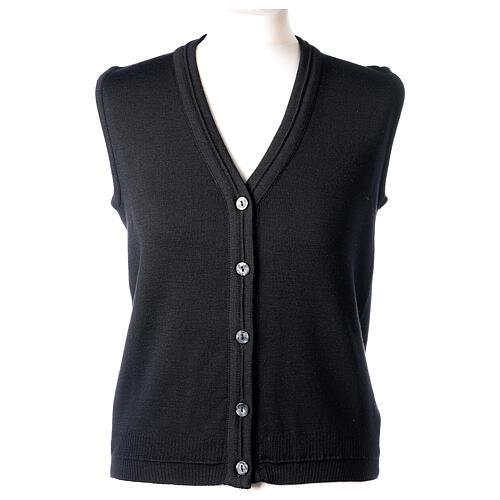 Gilet nero corto collo a V 50% acrilico 50% lana merino suora In Primis 1