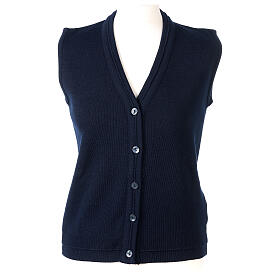 Gilet blu corto collo a V 50% acrilico 50% lana merino suora In Primis s1