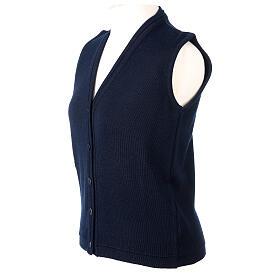 Gilet blu corto collo a V 50% acrilico 50% lana merino suora In Primis s3