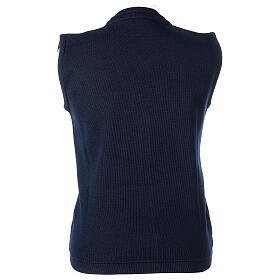 Gilet blu corto collo a V 50% acrilico 50% lana merino suora In Primis s4