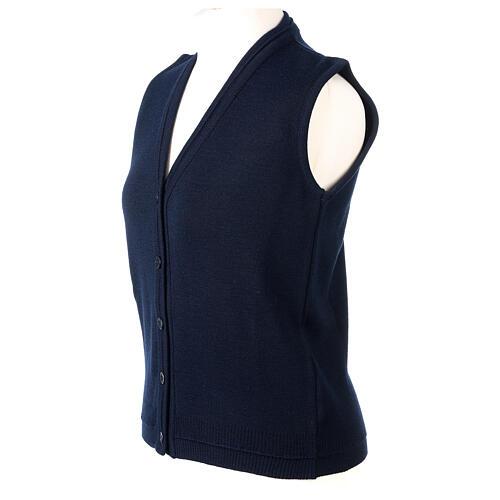 Gilet blu corto collo a V 50% acrilico 50% lana merino suora In Primis 3