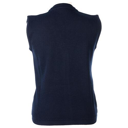 Gilet blu corto collo a V 50% acrilico 50% lana merino suora In Primis 4