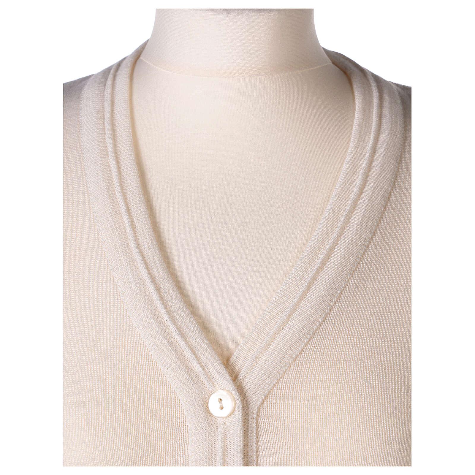 kurze Damen-Weste, weiß, mit V-Ausschnitt, 50% Acryl - 50% Merinowolle, In Primis 4