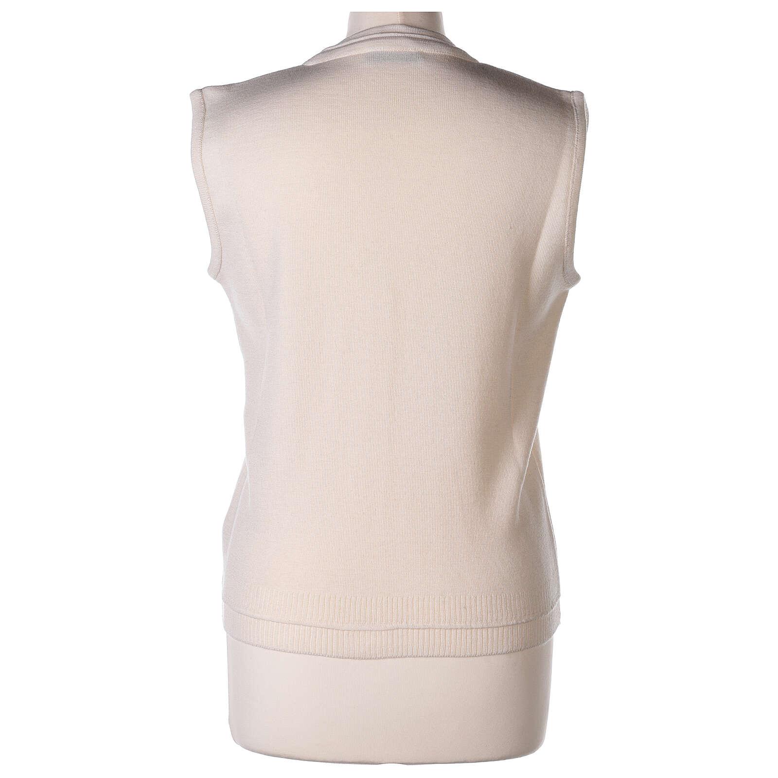 Chaleco blanco corto cuello V bolsillos punto unido 50% acrílico 50% lana merina monja In Primis 4