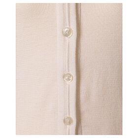 Chaleco blanco corto cuello V bolsillos punto unido 50% acrílico 50% lana merina monja In Primis s4