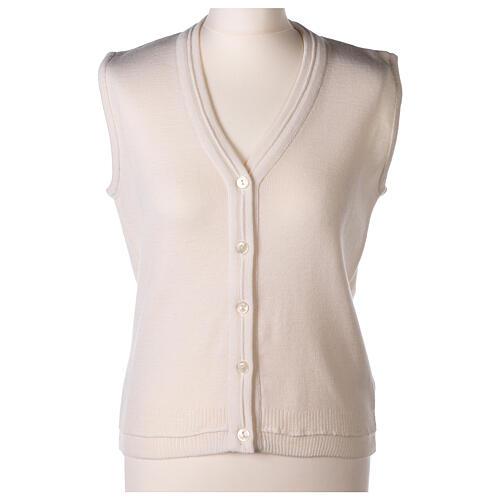 Chaleco blanco corto cuello V bolsillos punto unido 50% acrílico 50% lana merina monja In Primis 1