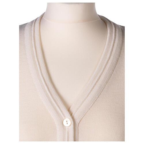 Chaleco blanco corto cuello V bolsillos punto unido 50% acrílico 50% lana merina monja In Primis 2
