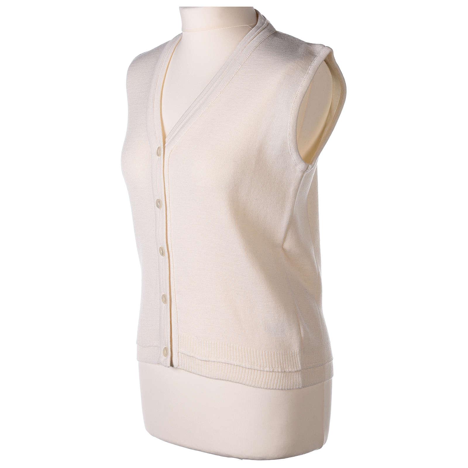 Gilet bianco corto collo a V 50% acrilico 50% lana merino suora In Primis 4
