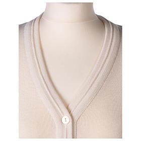 Gilet bianco corto collo a V 50% acrilico 50% lana merino suora In Primis s2