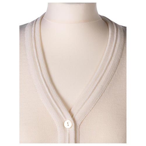 Gilet bianco corto collo a V 50% acrilico 50% lana merino suora In Primis 2
