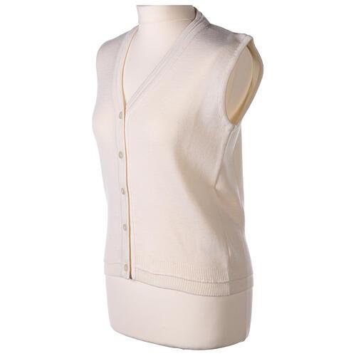 Colete branco curto decote em V para freira, 50% acrílico e 50% lã de merino, linha