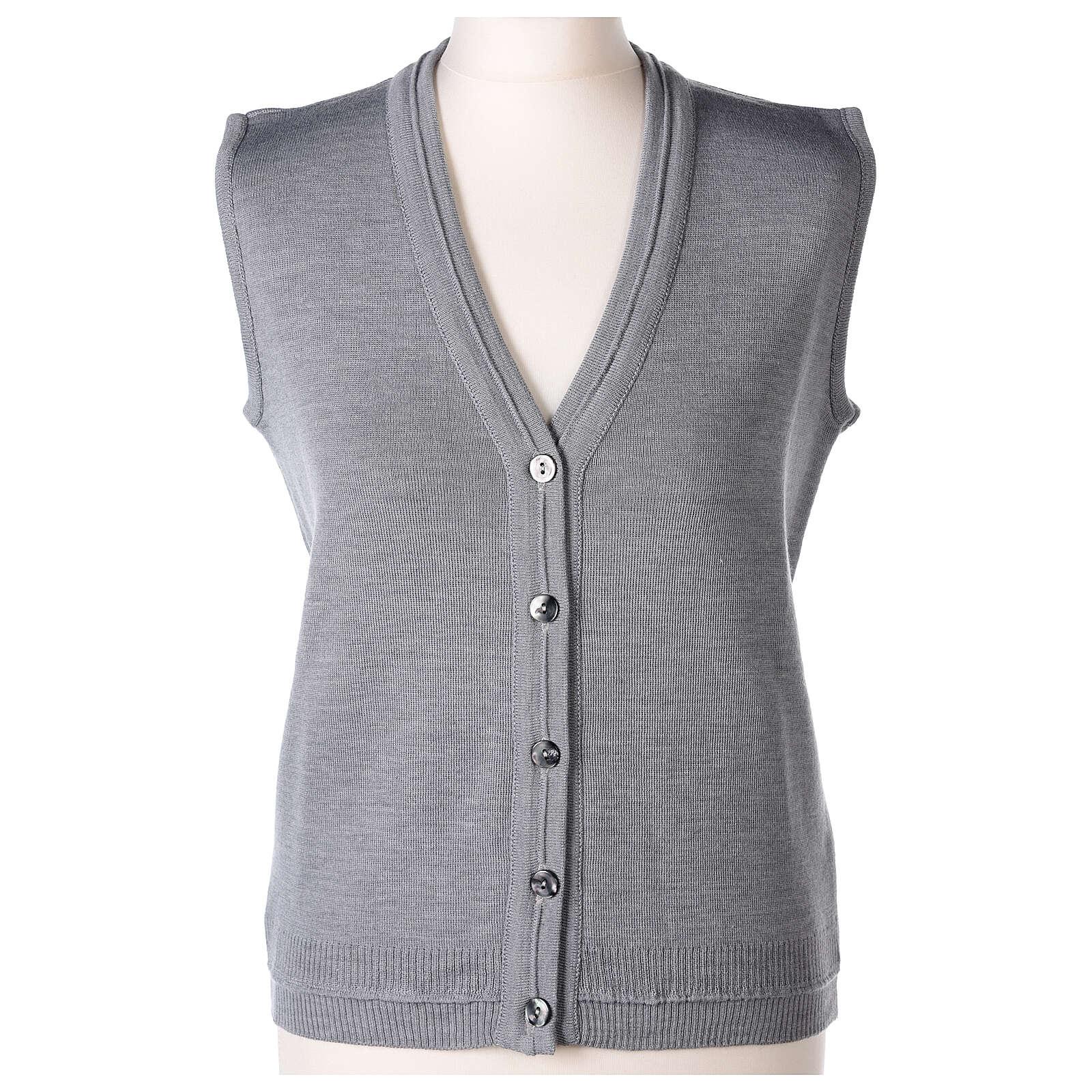 Chaleco monja gris perla corto cuello V bolsillos punto unido 50% acrílico 50% lana merina In Primis 4