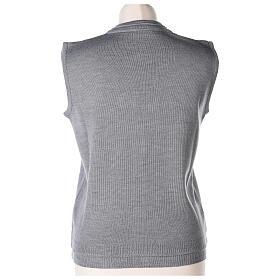Chaleco monja gris perla corto cuello V bolsillos punto unido 50% acrílico 50% lana merina In Primis s5