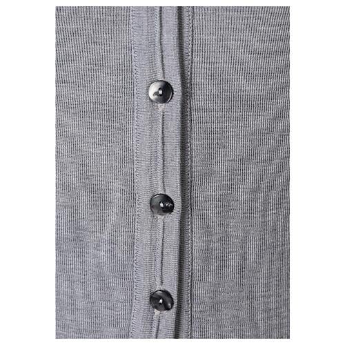 Chaleco monja gris perla corto cuello V bolsillos punto unido 50% acrílico 50% lana merina In Primis 3