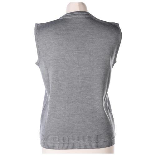 Chaleco monja gris perla corto cuello V bolsillos punto unido 50% acrílico 50% lana merina In Primis 5