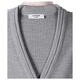 Gilet suora grigio perla corto collo a V 50% acrilico 50% lana merino In Primis s6