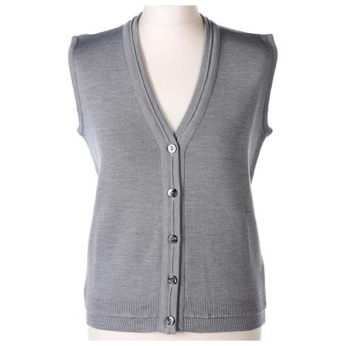 Gilet suora grigio perla corto collo a V 50% acrilico 50% lana merino In Primis 1