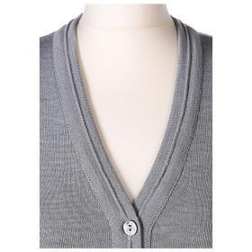 Grey short nun cardigan V-neck sleeveless 50% acrylic 50% merino wool In Primis s2