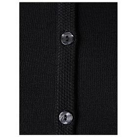 Damen-Cardigan, schwarz, mit Taschen und Rundhalsausschnitt, 50% Acryl - 50% Merinowolle, In Primis s4