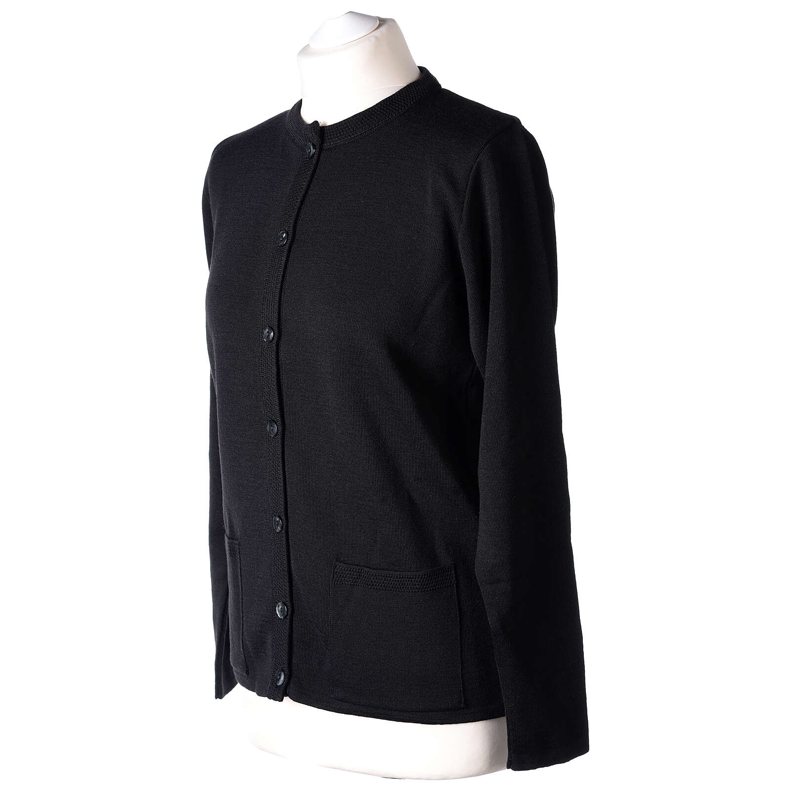 Rebeca monja negra coreana bolsillos punto unido 50% acrílico 50% lana merina In Primis 4