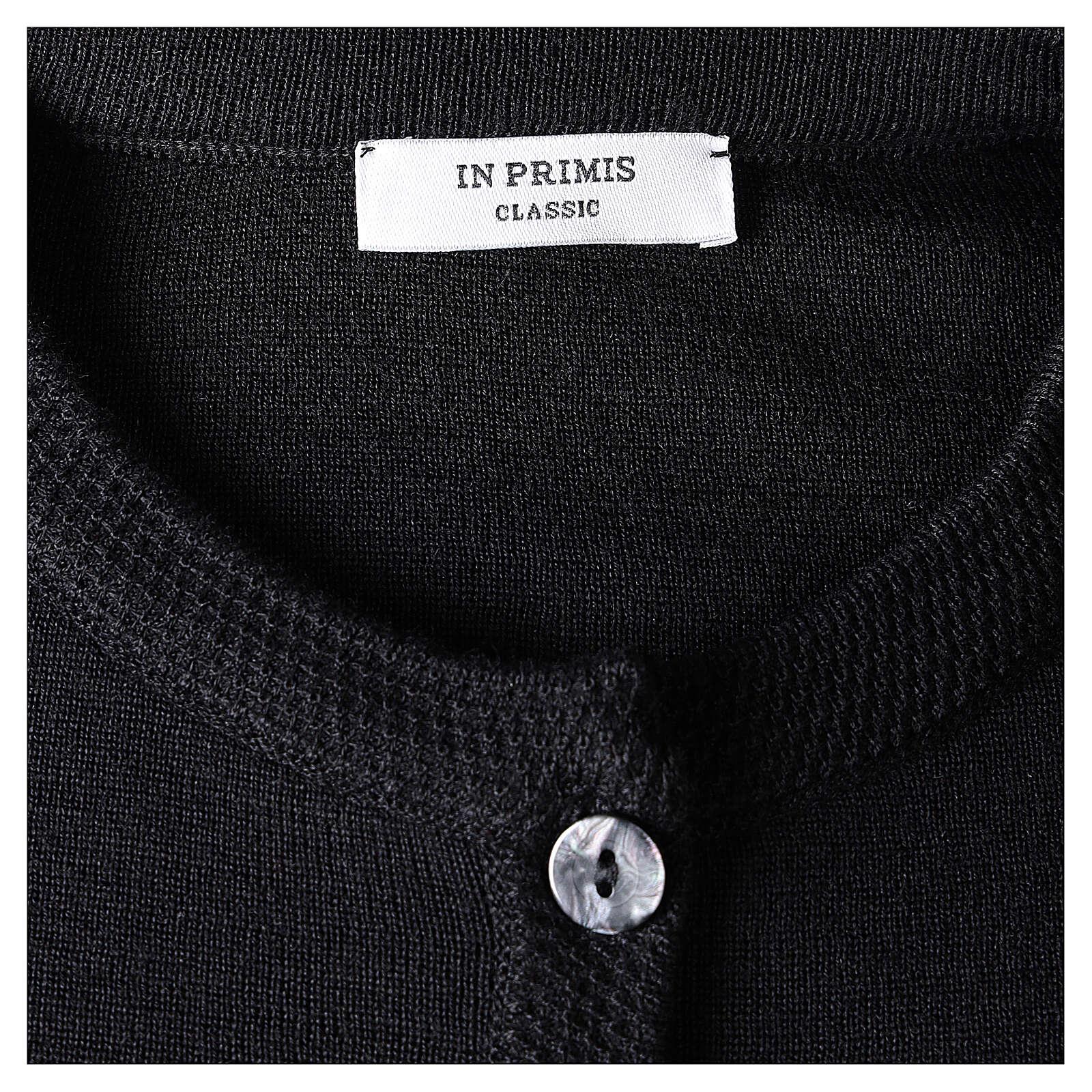 Cardigan soeur noir ras du cou poches jersey 50% acrylique 50% laine mérinos In Primis 4