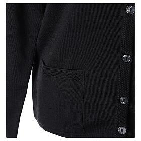 Cardigan soeur noir ras du cou poches jersey 50% acrylique 50% laine mérinos In Primis s5