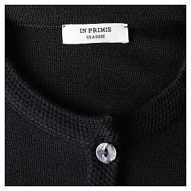 Cardigan soeur noir ras du cou poches jersey 50% acrylique 50% laine mérinos In Primis s7