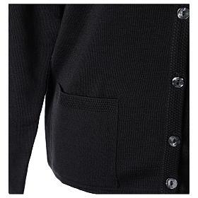 Cardigan suora nero coreana tasche maglia unita 50% acrilico 50% lana merino In Primis s5
