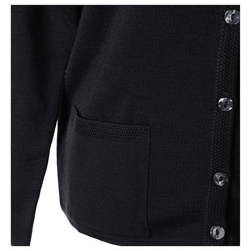 Cardigan suora nero coreana tasche maglia unita 50% acrilico 50% lana merino In Primis 5