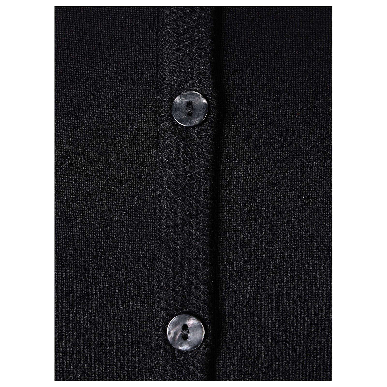 Kardigan siostra zakonna sweter czarny kołnierzyk koreański kieszonki dzianina gładka 50% akryl 50% wełna merynos In Primis 4