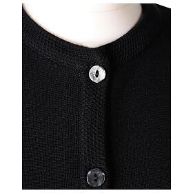 Kardigan siostra zakonna sweter czarny kołnierzyk koreański kieszonki dzianina gładka 50% akryl 50% wełna merynos In Primis s2