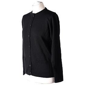 Kardigan siostra zakonna sweter czarny kołnierzyk koreański kieszonki dzianina gładka 50% akryl 50% wełna merynos In Primis s3